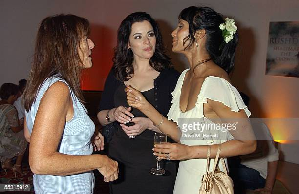 Lady Rogers Nigela Lawson and Padma Rushdie attend the launch of Salman Rushdie's latest book Shalimar The Clown at the David Gill Galleries...