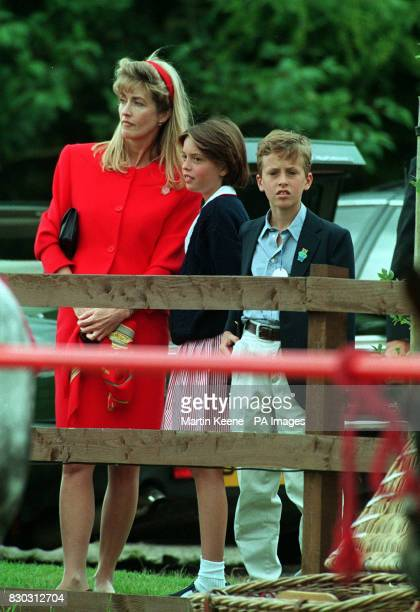 Lady Romsey with her two children Alexandra and Nicholas Knatchbull at Ansty Polo Club Wiltshire where a match is being played in aid of the Leonora...