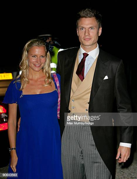 Lady Rose Gilman and George Gilman arrive at the home of Lady Annabel Goldsmith for an evening reception after attending the wedding of Lord...
