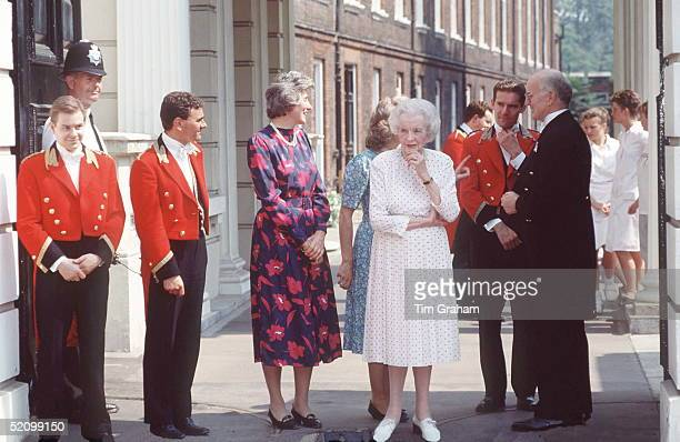 Lady Ruth Fermoy And Other Members Of The Queen Mothers Staff Outside Clarence House