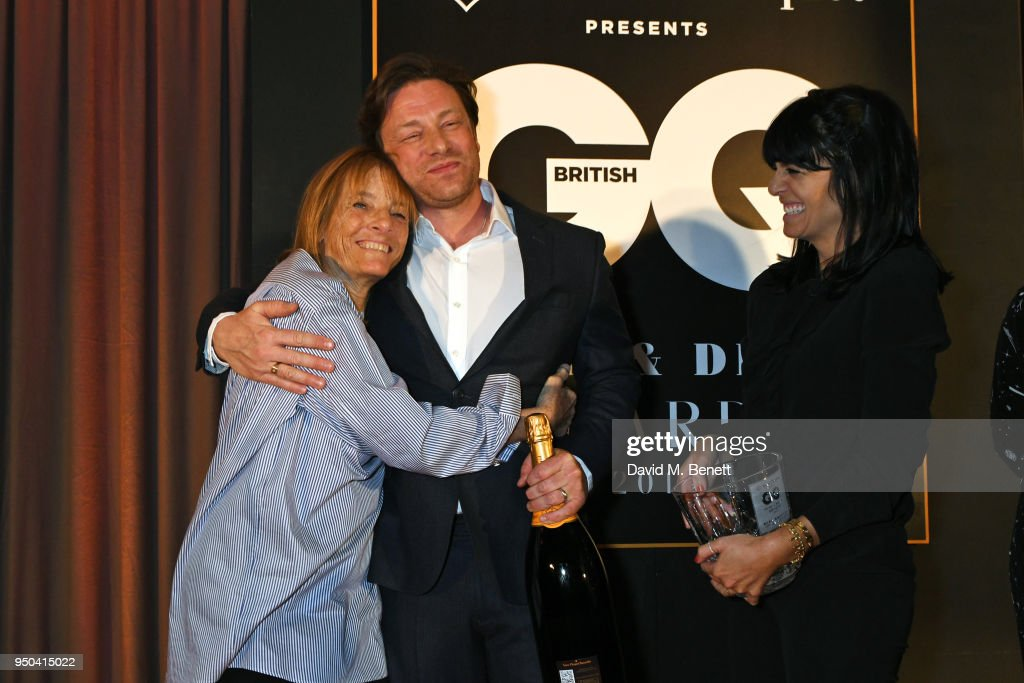 Lady Ruth Rogers, winner of the Lifetime Achievement award, Jamie Oliver and Claudia Winkleman attend the GQ Food & Drink Awards at Rosewood London on April 23, 2018 in London, England.