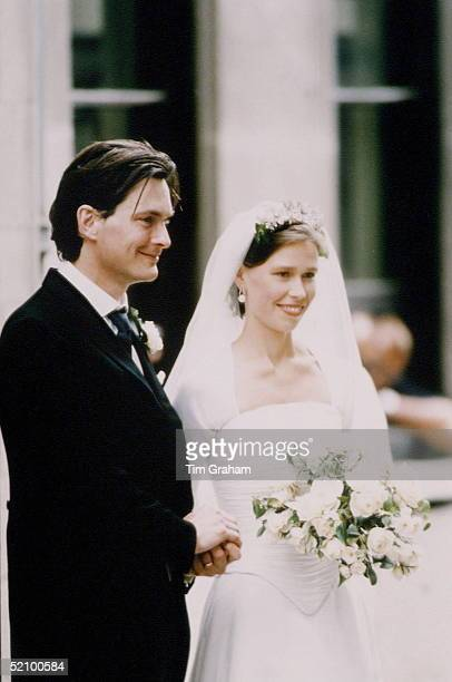 Lady Sarah Armstrongjones [ Chatto ] With Her Husband Daniel Chatto On Their Wedding Day At St Stephen Walbrook In London