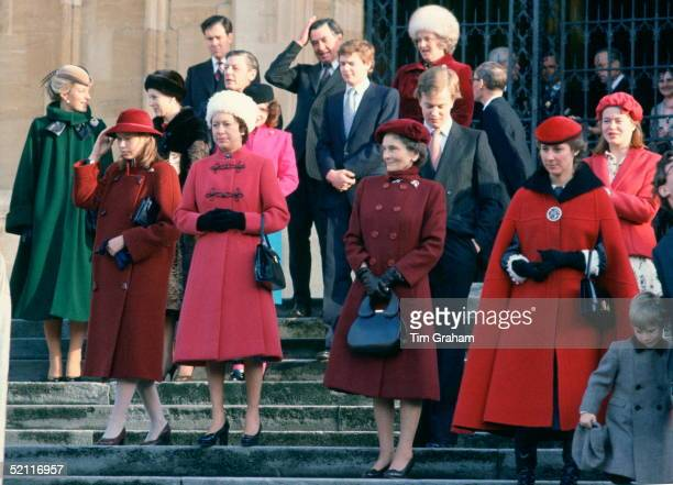Lady Sarah Armstrongjones Princess Margaret Princess Alice And The Duchess Of Gloucester After Attending Christmas Service With Other Members Of The...