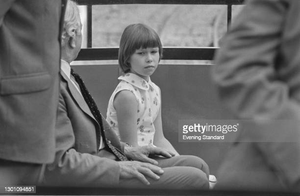 Lady Sarah Armstrong-Jones, the daughter of Princess Margaret, riding a miniature railway at Whipsnade Zoo in Bedfordshire, UK, 6th August 1973.