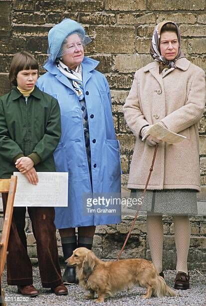 Lady Sarah Armstrongjones The Queen Mother And The Queen At The Badminton Horse Trials The Queen Has With Her One Of Her Favourite Dogs A Dorgi Which...
