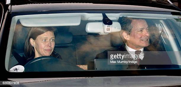 Lady Sarah Chatto and Daniel Chatto attend a Christmas lunch for members of the Royal Family hosted by Queen Elizabeth II at Buckingham Palace on...