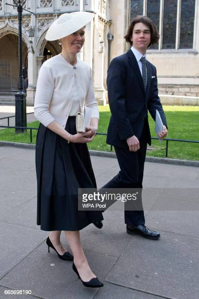 Lady Sarah Chatto and her son Samuel Chatto leave a Service of Thanksgiving for the life and work of Lord Snowdon at Westminster Abbey on April 7...