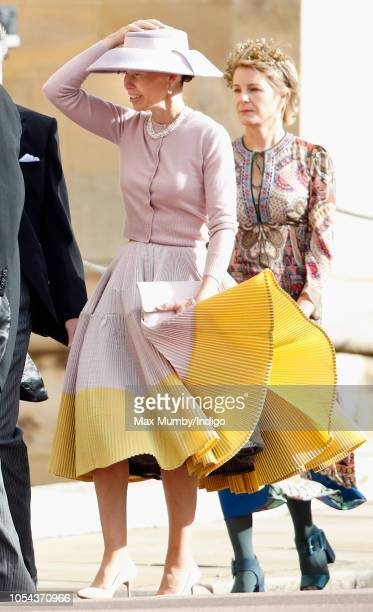 Lady Sarah Chatto attends the wedding of Princess Eugenie of York and Jack Brooksbank at St George's Chapel on October 12 2018 in Windsor England