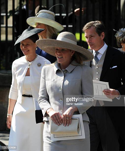 Lady Sarah Chatto Autumn Phillips and Daniel Chatto attend the wedding of Zara Phillips and Mike Tindall at Canongate Kirk on July 30 2011 in...