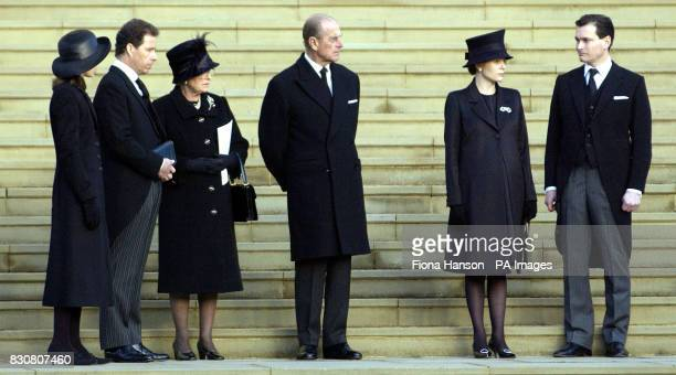 Lady Sarah Chatto Lord Linley Queen Elizabeth II the Duke of Edinburgh Lady Serena Linley and Daniel Chatto watch the coffin of Princess Margaret...