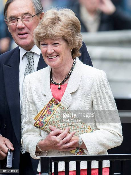 Lady Sarah McCorquodale attends the wedding of Alexander Fellowes and Alexandra Finlay at St Mary's Undercroft on September 20 2013 in London England