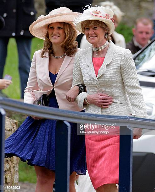 Lady Sarah McCorquodale attends the wedding of her daughter Emily McCorquodale and James Hutt at The Church of St Andrew and St Mary Stoke Rochford...