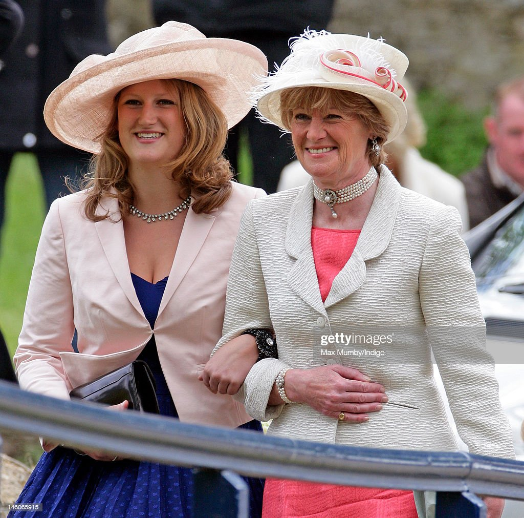 Lady Sarah McCorquodale (R) attends the wedding of her daughter Emily McCorquodale and James Hutt at The Church of St Andrew and St Mary, Stoke Rochford on June 9, 2012 in Grantham, England.