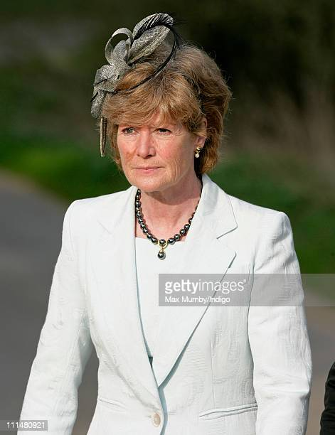 Lady Sarah McCorquodale attends the wedding of William DuckworthChad and Lucy Greenwell at All Saints Church Sudbourne on April 2 2011 in Woodbridge...