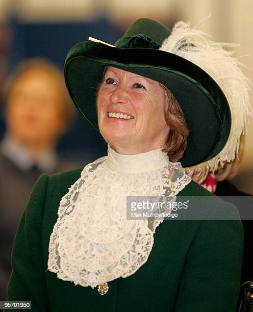 Lady Sarah McCorquodale High Sheriff of Lincolnshire accompanies her Nephew HRH Prince William on his visit to RAF Coningsby on January 11 2010 in...