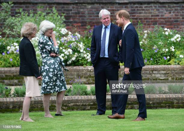 Lady Sarah McCorquodale, Lady Jane Fellowes and Earl Spencer, with their nephew Prince Harry, Duke of Sussex during the unveiling of a statue of...