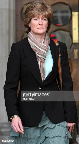 Lady Sarah McCorquodale Princess Diana's sister leaves the High Court without making a comment to the press on April 7 2008 in London England The...
