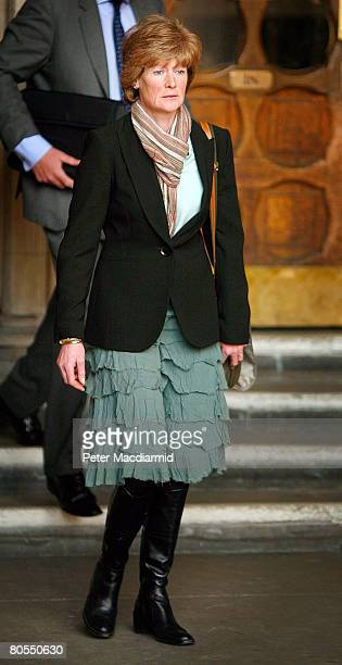 Lady Sarah McCorquodale sister of Diana Princess of Wales leaves the High Court on April 7 2008 in London The inquest jury concluded that Diana...