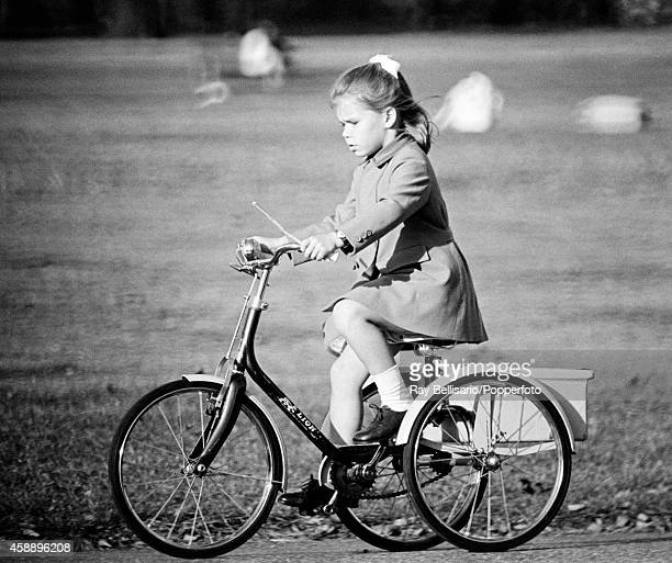 Lady SarahArmstrong daughter of Princess Margaret and Anthony ArmstrongJones riding her tricycle in Kensington Gardens in London on 15th October 1969...