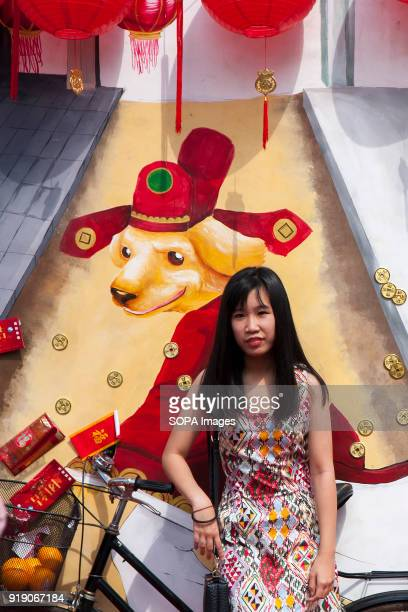 A lady seen in front of a big poster showing the dog year at the Thean Hou Temple on the first day of Chinese New Year Chinese New Year is the first...
