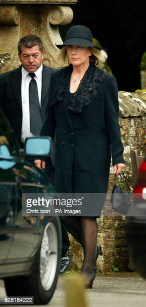 Lady Shaftesbury arrives for the funeral of her exhusband Anthony the 10th Earl of Shaftesbury in Wimborne St Giles Dorset Friday September 30 2005...