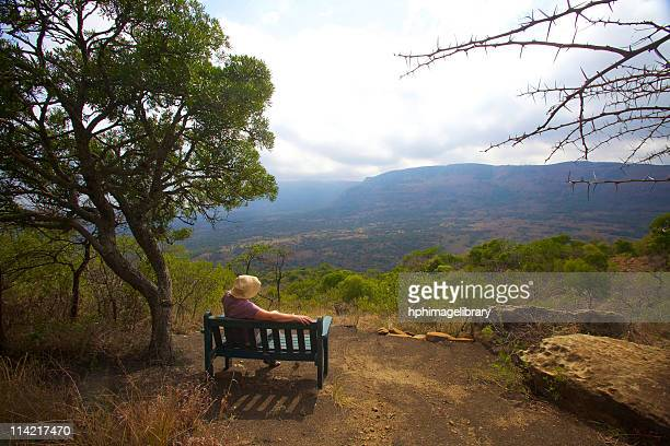 lady sitting on a bench, admiring the view, kwazulu-natal, south africa - wildlife reserve stock photos and pictures