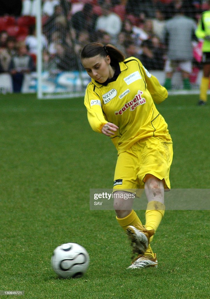 Lady Sovereign gets a shot on goal during Celebrity World Cup Soccer Six Match at West Ham United Football Club in London, Great Britain.