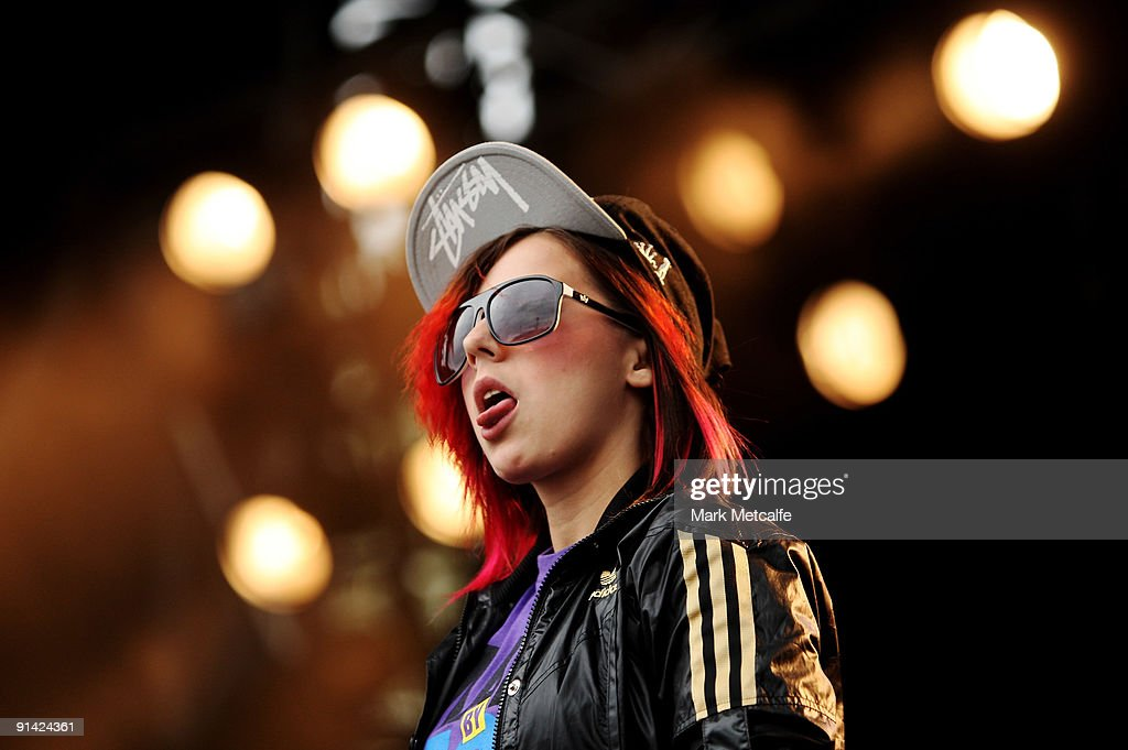 Lady Sovereign performs on stage during the Parklife Festival at Kippax Lake on October 4, 2009 in Sydney, Australia.