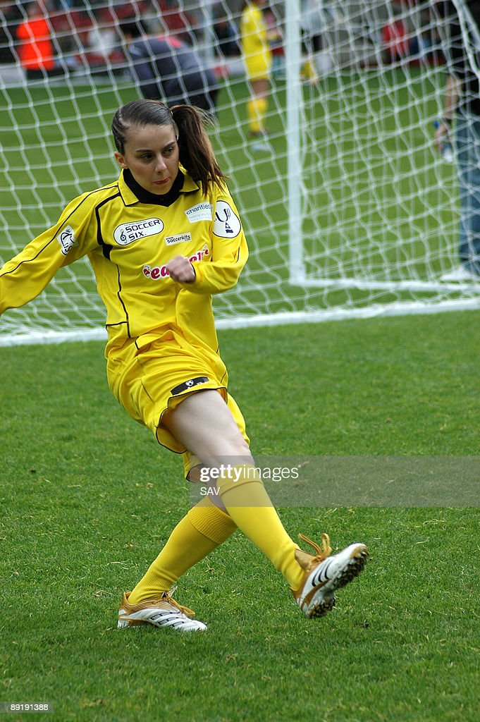 Lady Sovereign tries a shot on goal