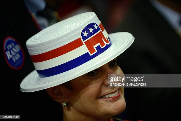 A lady sports a hat with the Republican elephant symbol at the Tampa Bay Times Forum in Tampa Florida on August 29 2012 during the Republican...