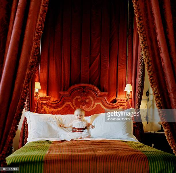 Lady Stella Lambton is photographed for Vanity Fair Magazine on May 11 2012 in one of 12 bedrooms in Villa Cetinale in Siena Italy PUBLISHED IMAGE