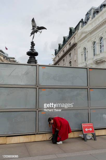 Lady stoops to fetch something from her bag at a temporary construction hoarding beneath the partially hidden statue of Eros, the world famous London...
