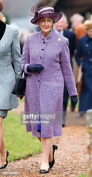 Lady Susan Hussey accompanies Queen Elizabeth II to Sunday service at St Peter's church Wolferton near Sandringham House on January 19 2014 in...