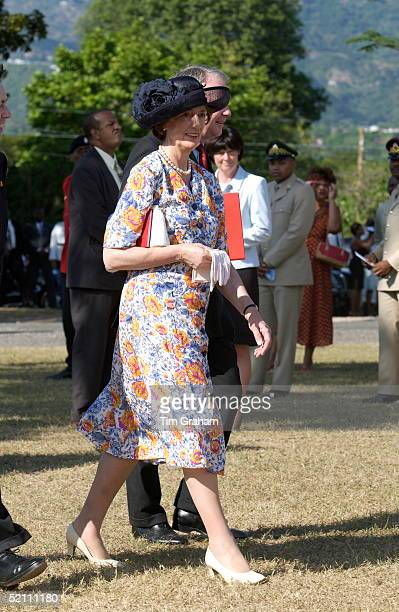 Lady Susan Hussey Attending A Cultural Presentation In The Gardens Of The Governor General's Residence Kings House Kingston Jamaica