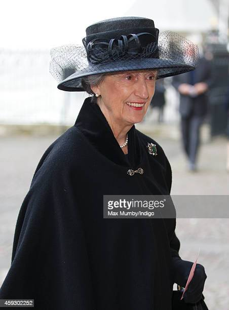 Lady Susan Hussey attends a service of thanksgiving for Lady Mary Soames at Westminster Abbey on November 20 2014 in London England Lady Mary Soames...