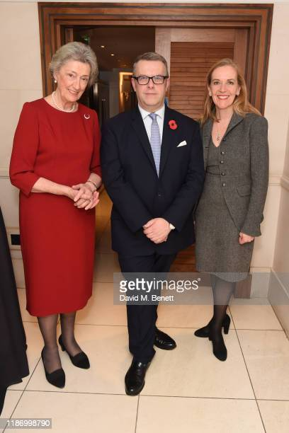 Lady Susan Hussey David Pogson and Colette Saunders attend the Royal Variety Charity reception at the St James's Hotel on November 11 2019 in London...