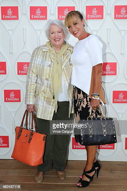 Lady Susan Renouf and Sue Lloyd-Williams pose for photo at the Emirates Ladies Lunch at Melbourne Park on January 29, 2015 in Melbourne, Australia.