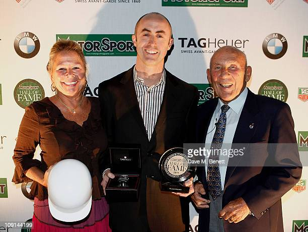 Lady Susie Moss racing driver David Brabham accepting on behalf of his father inductee Sir Jack Brabham and Sir Stirling Moss attend the Motor Sport...