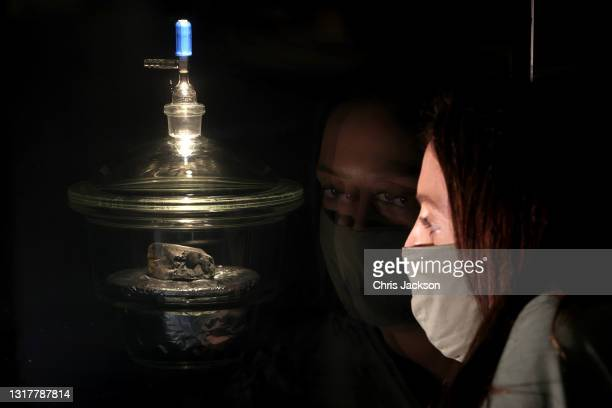 Lady takes a closer look at the Winchcombe meteorite that has gone on display at the Natural History Museum on May 13, 2021 in London, England. The...