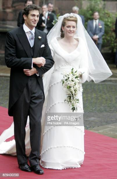 Lady Tamara Grosvenor and Edward van Cutsem after their wedding at Chester Cathedral The wedding brings together two of Britain's wealthiest families...