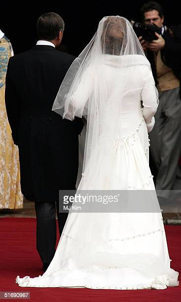 Lady Tamara Grosvenor arrives with her father The Duke of Westminster for her wedding to Ed Van Cutsem at Chester Cathedral on November 6 2004 in...