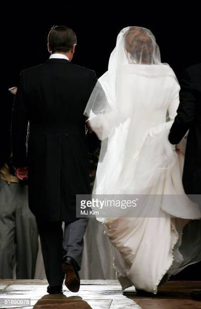 Lady Tamara Grosvenor arrives with her father The Duke Of Westminster at her wedding to Ed Van Cutsem at Chester Cathedral on November 6 2004 in...