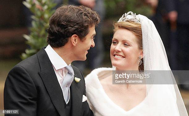 Lady Tamara Grovesnor and Edward Van Cutsem leave their wedding on November 6 2004 in Chester England Lady Tamara is the eldest daughter of The Duke...