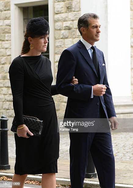 Lady Tamara Van Cutsem and Edward Van Cutsem attend a Requiem Mass for Hugh van Cutsem who passed away on September 2nd 2013 at Brentwood Cathedral...