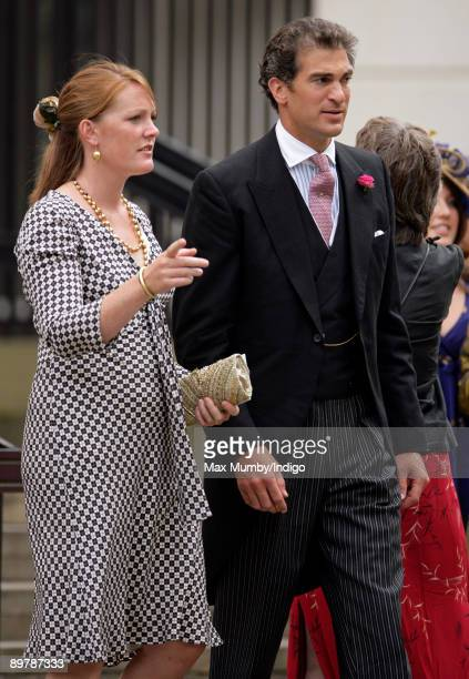 Lady Tamara van Cutsem and Edward van Cutsem attend the wedding of Nicholas van Cutsem and Alice HaddenPaton at The Guards Chapel Wellington Barracks...