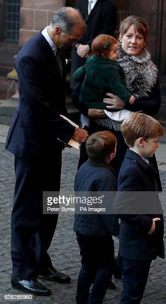 Lady Tamara van Cutsem arrives with her daughter and her two sons for a memorial service to celebrate the life of the sixth Duke of Westminster at...