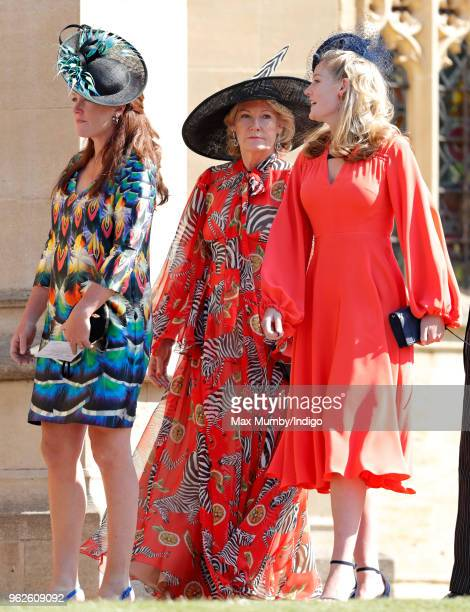 Lady Tamara van Cutsem Natalia Grosvenor Duchess of Westminster and Lady Viola Grosvenor attend the wedding of Prince Harry to Ms Meghan Markle at St...
