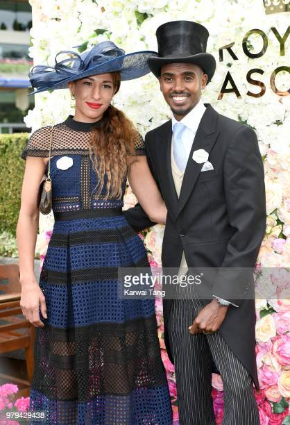 Lady Tania Farah and Sir Mo Farah attend Royal Ascot Day 2 at Ascot Racecourse on June 20, 2018 in Ascot, United Kingdom.