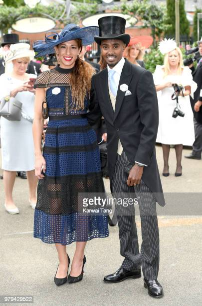 Lady Tania Farah and Sir Mo Farah attend Royal Ascot Day 2 at Ascot Racecourse on June 20 2018 in Ascot United Kingdom