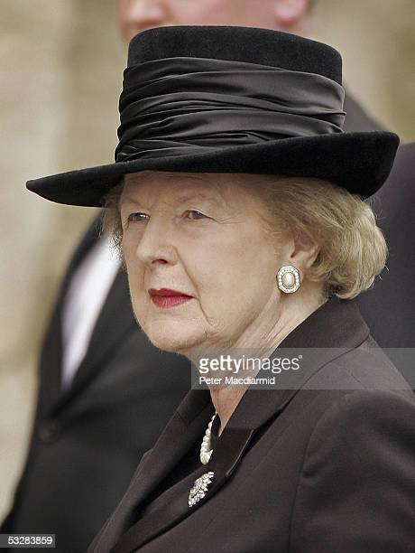 Lady Thatcher arrives for the funeral of former Prime Minister Sir Edward Heath on July 25 2005 in Salisbury England Sir Edward Heath who died at the...